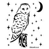 Stencil of Owl on perch at night with moon and stars - Mylar stencil