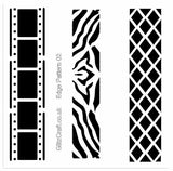 Stencil of photo film, crisscross and Zebra stripes for card making and crafts