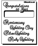 Stencil of Wedding Titles text reads  congratulations on your  .. Anniversary .. Wedding Day .. Silver Wedding ... Ruby Wedding ..