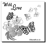 Stencil with  flowers and butterflies and text reads 'With Love'