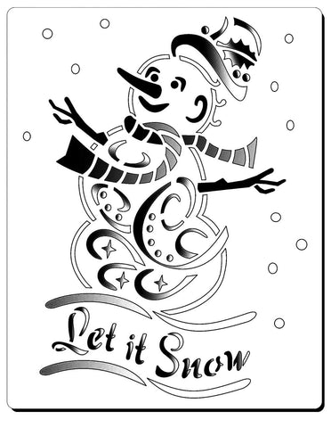 "Image of Snowman with carrot eyes, scarf and hat. The text reads ""Let it Snow"""
