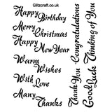 Common Sentiments Stencil .. Birthday .. Christmas ... Congratulations ..