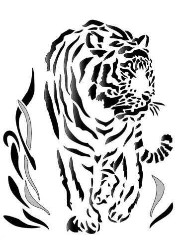 Tiger stencil for cards and crafts - tiger walking through long grass