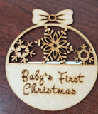 MDF Half Snowflake Bauble - Baby's First Christmas