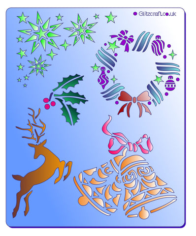 Christmas icons include a leaping deel, bells, wreath, holly and snowflakes