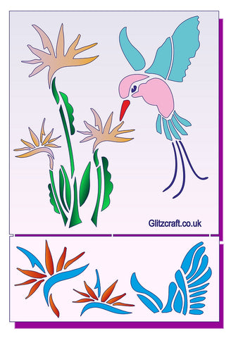 3D Birds of Paradise, 3D_Stencils- Glitzcraft