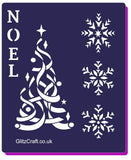 Stencil with NOEL with Christmas tree and Snowflakes
