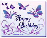 Colour stencil - Happy Birthday text with butterflies - Mylar Stencil