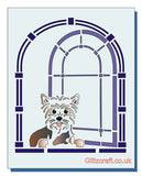 Stencil of Cute dog sitting in window looking out
