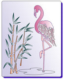 Flamingo stencil standing on one foot in the reeds