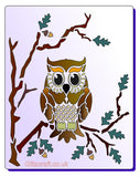 Mylar Stencil of Lone owl   for cards and crafts