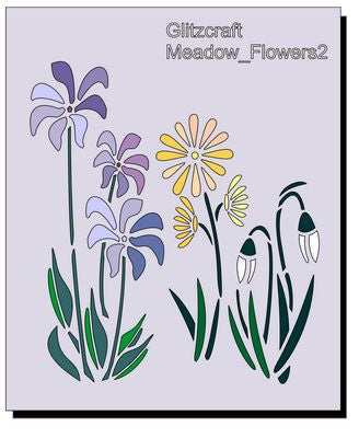 Meadow Flowers Stencil 5in x 4in