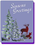 Seasons Greetings Deer in Winter Forest Scene
