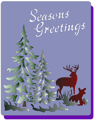 Seasons Greeting w/ Deer Stencil