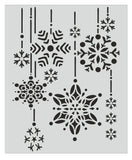 Winter snowflakes falling -stencil template