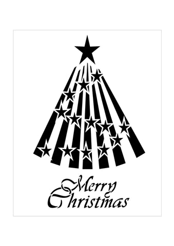 Stencil for Christmas Cards  reads Merry Christmas with a Star Tree