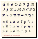 Alphabet Upper and Lower Case Letters Stencil  Stencil for cards and crafts  Text includes the Alphabet in uppercase letters  adn lower case letters in a decorative style.