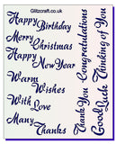 Common Sentiments Stencil Happy Birthday .. Merry Christmas ... Congratulations ..