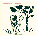 Elephant under tree stencil for cards and crafts