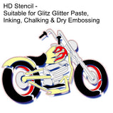 Motorbike Stencil HD for cards and crafts Mylar stencil