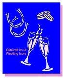 Stencil with Wedding rings, glasses and horse shoes