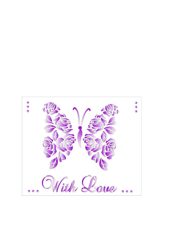 Butterfly roses with love stencil