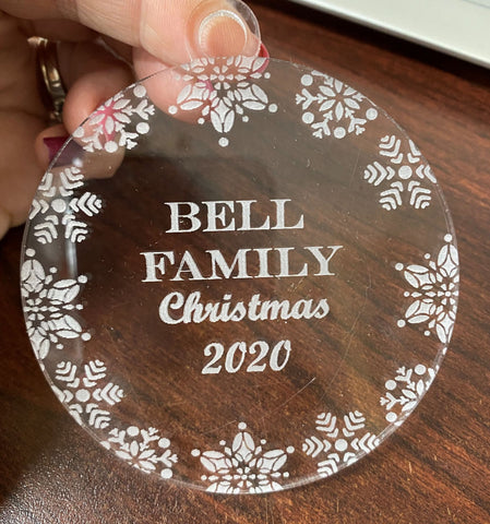 Circular Acrylic Engraved Bauble - personalised