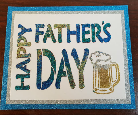 Father's Day Stencil with text Happy Father's Day and a pint of Beer