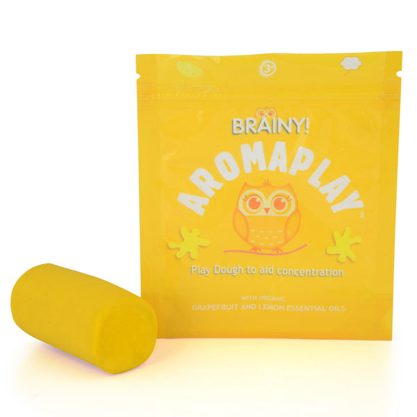 Brainy aromatherapy play dough to encourage focus and concentration with lemon and grapefruit essential oils