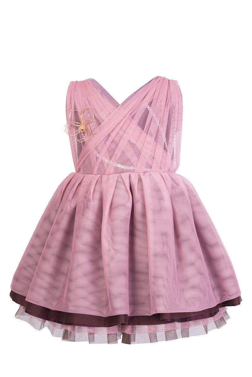 Purple and Brown Kids Dress - Steveus Fashion & Beauty - 1