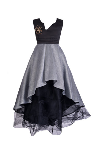 Black and Gray Prom Dress - Steveus Fashion & Beauty - 1