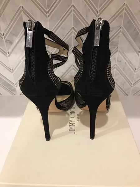 Jimmy Choo Domino Suede and crystal Sandal size 7