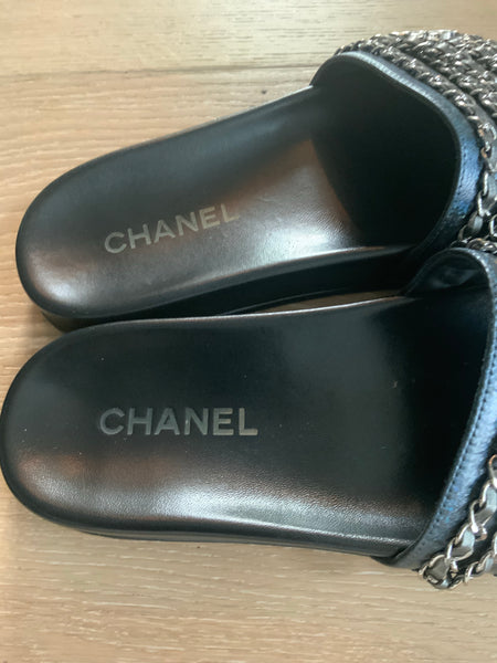 CHANEL INTERLOCKING CC SLIDES SIZE 39