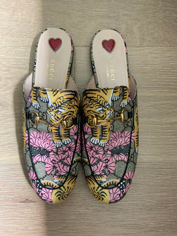 GUCCI SUPREME BENGAL PRINCETOWN MULES SIZE 38 1/2