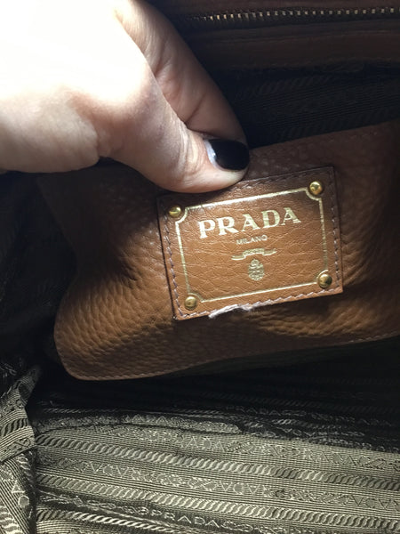 PRADA VITELLO DAINO SIDE POCKET TOTE