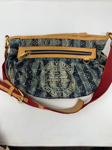 LOUIS VUITTON DENIM PORTE EPAULE CRUISE RAYE CABAS GM