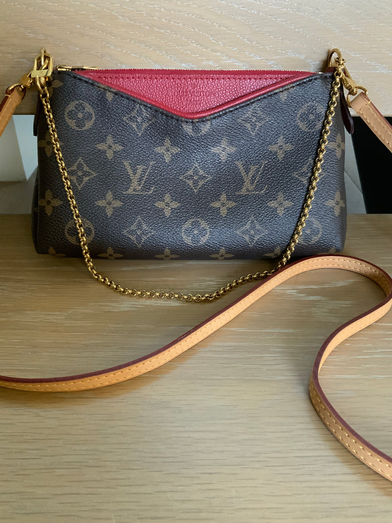 LOUIS VUITTON MONOGRAM PALLAS CLUTCH WITH STRAP