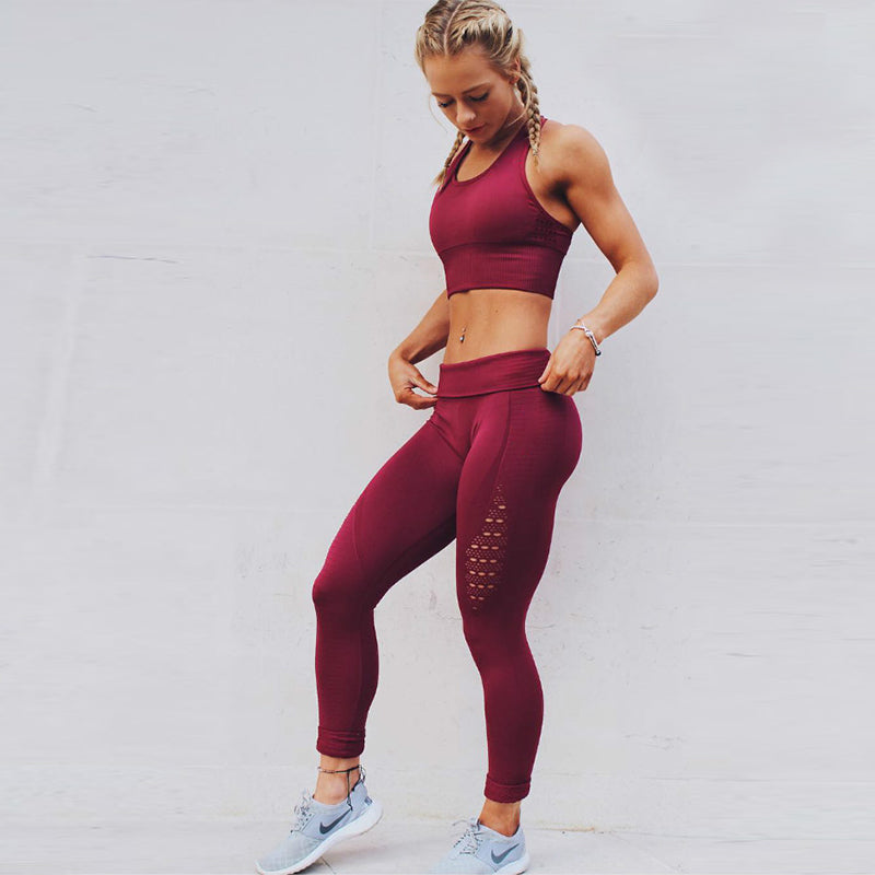 High Waist Red Fitness Leggings