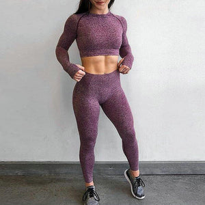 Wine Red High Waist Energy Seamless Yoga Leggings