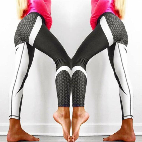 Geometric Mesh Pattern Printed Leggings