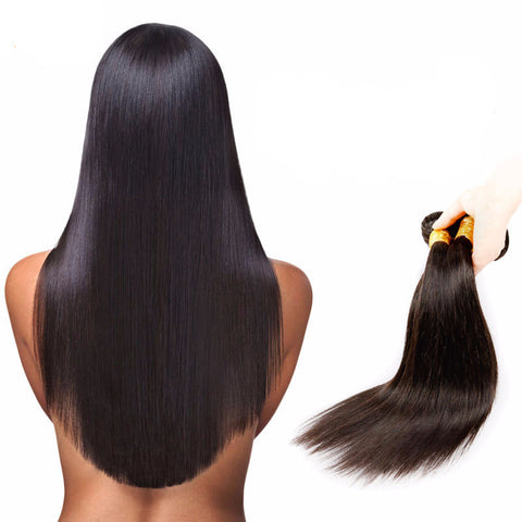 4 Bundle Deal Indian Straight Virgin Human Hair Weave Extensions