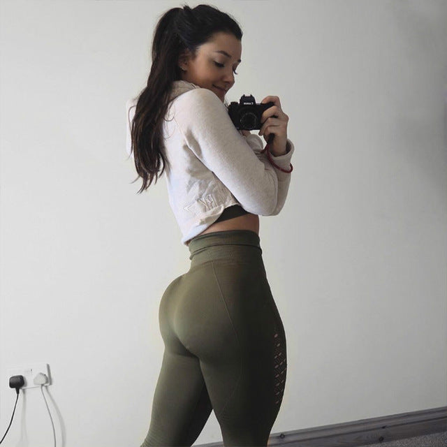 High Waist Navy Green Fitness Leggings