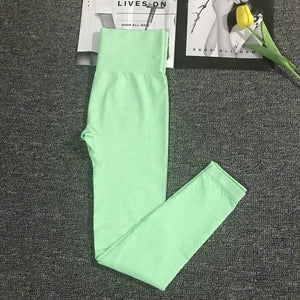 Green High Waist Energy Seamless Yoga Leggings