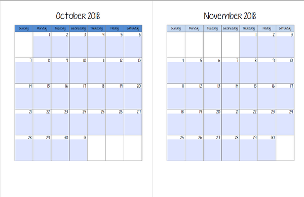 Student Planner- 2018-2019 Monthly Calendars - FREE DOWNLOAD