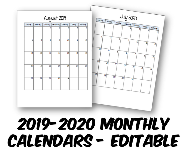 2019-2020 Student Planner- Monthly Calendars - FREE DOWNLOAD