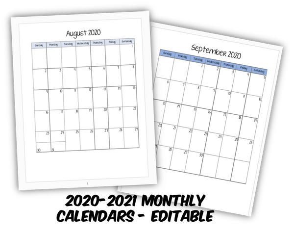 2020-2021 Student Planner- Monthly Calendars - FREE DOWNLOAD