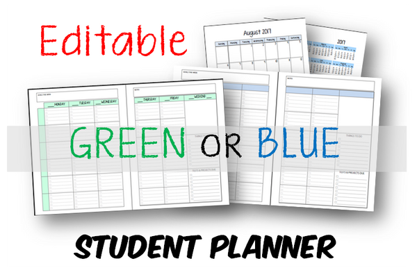 Student Planner - 6 Subject - Green or Blue - EDITABLE (INSTANT DOWNLOAD)