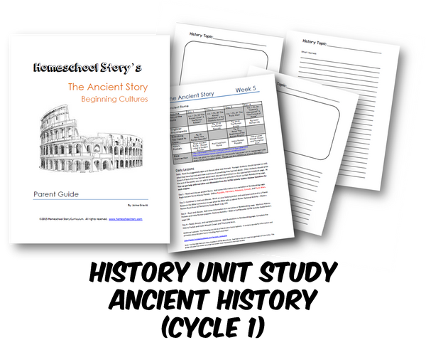 History - Ancient History & Beginning Cultures-  Lesson Plans - 24 Weeks (INSTANT DOWNLOAD)