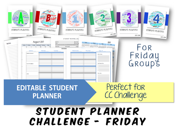 2019-2020 Student Planner - Challenge (Friday) - EDITABLE (INSTANT DOWNLOAD)
