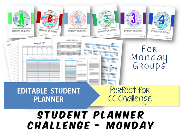 2019-2020 Student Planner - Challenge (Monday) - EDITABLE (INSTANT DOWNLOAD)